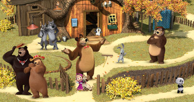 Фотообои Маша и медведь с друзьями артикул 530576