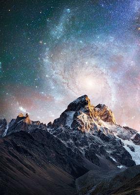 Фотообои Горы и млечный путь артикул E140456