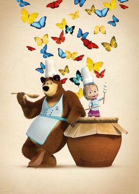 Фотообои Маша и медведь повара артикул E540573