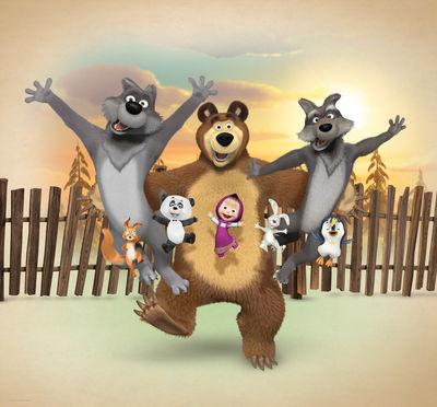 Фотообои Маша и медведь с друзьями артикул E550578