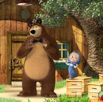 Фотообои Маша и медведь в бабочке артикул LA500565