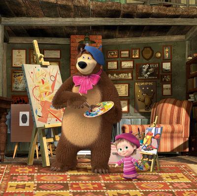 Фотообои Маша и медведь учатся рисовать артикул LA500566
