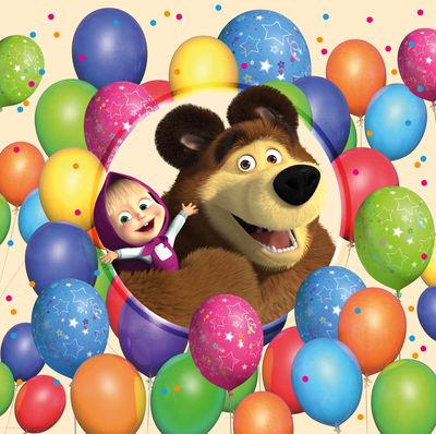 Фотообои Маша и медведь с шарами артикул LA500568