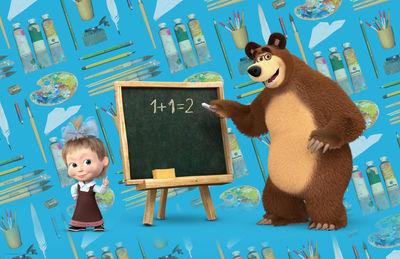 Фотообои Маша и медведь в школе артикул LA530570
