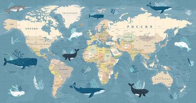 Фотообои Карта мира - морское путешествие артикул YW230603