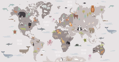 Фотообои Карта животного мира для детей артикул YW230604