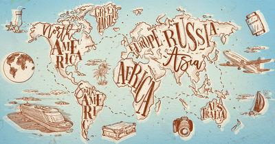 Фотообои Стилизованая карта мира артикул YW230608