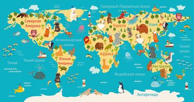 Фотообои Детская карта мира артикул YW230609